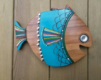 Assemblage FISH NURSERY ART room decor found object art kids teen room fishing hunting woodland theme Ocean