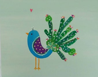 Peacock NURSERY ART Cactus painting Southwestern on canvas woodland desert theme BABY shower gift room decor