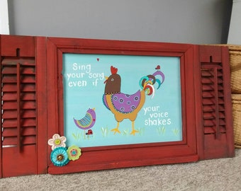 Chicken Ladybug NURSERY ART wall hanging barnyard theme room decor bird rooster kids room barn nursery art wooden shutter