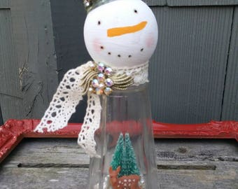 Salt shaker snowman altered Christmas holiday decoration mixed media assemblage art vintage deer