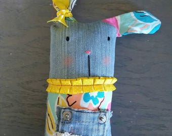 Upcycled stuffed bunny rabbit EASTER NURSERY decor