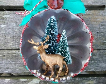 Vintage JELLO MOLD deer Christmas ORNAMENT bottle brush trees mixed media upcycled assemblage