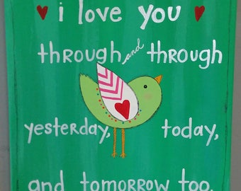 Bird Painting Valentines Day gift NURSERY ART on 12 x 12 inch canvas original