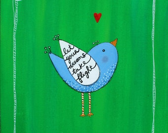 Bird Painting NURSERY ART  with inspirational quote baby shower GRADUATION gift 12 x 12 inch canvas teen room decor Christmas gift