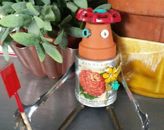 Garden Decor gardening Robot florist Assemblage HOME decor Mother's Day GIFT found object upcycled art vintage spice tin