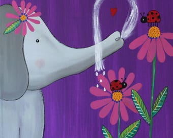 Elephant and Ladybug NURSERY ART Painting BABY Shower gift kids playroom
