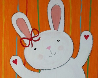 Original BUNNY NURSERY ART rabbit Painting on 12 x 12 inch canvas Children's room decor Christmas baby shower gift