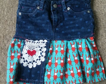 Girls upcycled denim skirt size 4T recycled clothing