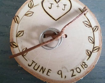 "Personalized WEDDING Ring bearer ""pillow"" wood slice wood burned ring holder engagement initials letters"