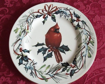 Lenox winter greetings etsy lenox winter greetings accent luncheon plate cardinal m4hsunfo