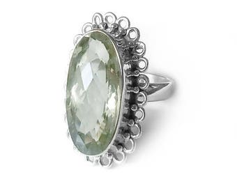 Sterling Silver Ring of Green Amethyst Size 9