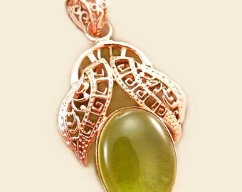 Green Glass  and Copper Pear Pendant