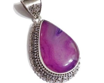Purple Agate Sterling Silver Pendant Large and Ornate
