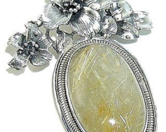 Golden Rutilated Quartz Sterling Silver Pendant