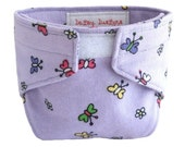 Doll Diaper - Lavender Flannel Fabric with Sweet Little Butterflies - Baby Alive - Cabbage Patch