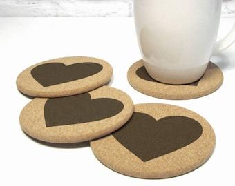 HEARTS Cork Coaster Set Hostess Gift Idea Valentines Day