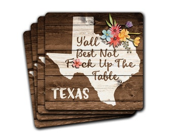 Funny TEXAS State Pride F*ck Up The Table Souvenir 4pc Coaster Gift Set