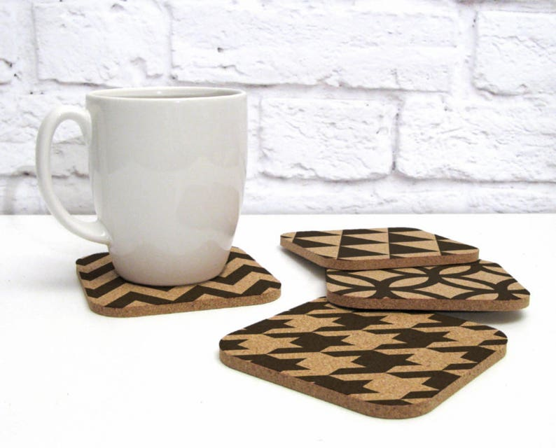 HOUNDSTOOTH CHEVRON Geometric Hollywood Regency Patterns Cork Coaster Set
