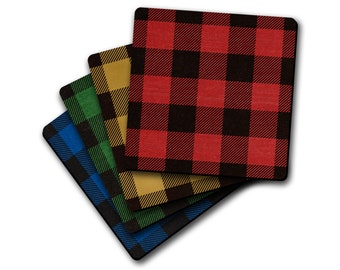 Buffalo Plaid Flannel 4pc Drink Coaster Set Lodge Cabin Decor Housewarming Gift Idea