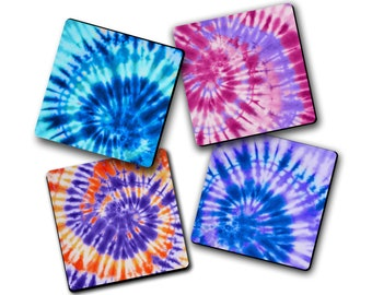 4pc Colorful Tie Dye Fabric Drink Coaster Set Hostess Housewarming Gift Idea Home Decor College Dorm Cubicle