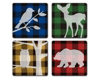 Buffalo Plaid Flannel Forest Animals 4pc Coaster Set Lodge Cabin Decor Housewarming Gift Idea