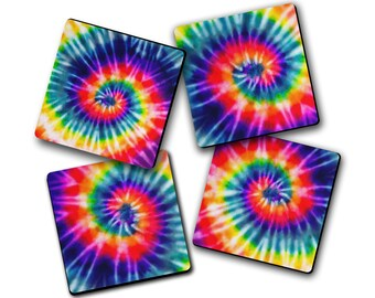 4pc Rainbow Tie Dye Fabric Drink Coaster Set Hostess Housewarming Gift Idea Home Decor College Dorm Cubicle