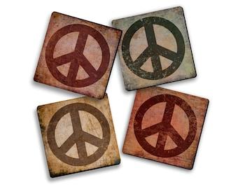 Peace Sign Design Fabric Coaster Set Hippie Decor Gypsy Boho Dorm Room Kids Room Decoration