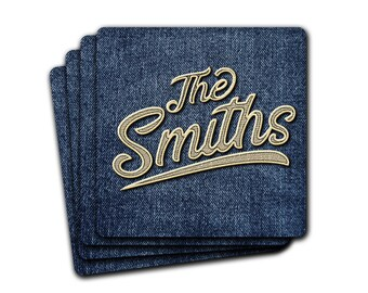 Sporty Denim Jeans Custom Name 4pc Drink Coaster Gift Set Personalized Monogram Name  Housewarming Cubicle Decor Gift For Him