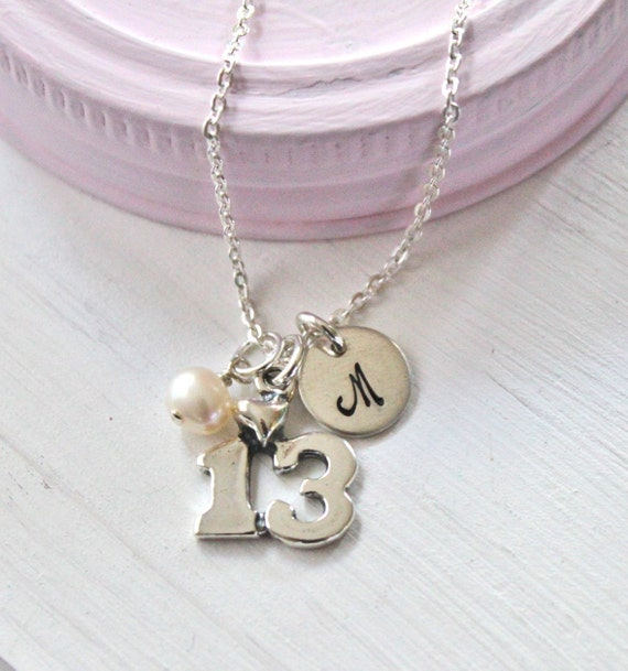 13th Birthday Necklace Personalized Girls Necklace Hand