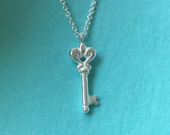 Silver Key Necklace - Delicate charm, thin chain