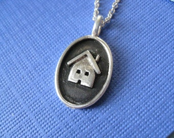 Antique House Charm Necklace Sterling Silver
