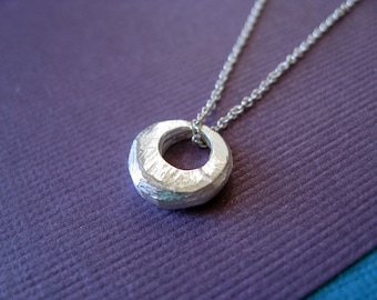 Sterling Silver Everyday Necklace.  Texture Bubble.  16 inch 18 inch