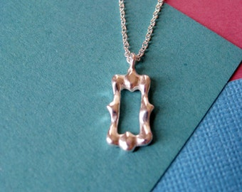 Delicate Sterling Silver Necklace Tiny Tall Frame