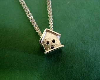 Sterling Silver Necklace. Tiny House with Double Chain.