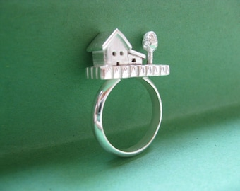 Silver Statement Ring - House and Tree - Sterling Silver