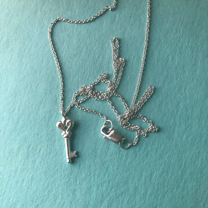Silver Key Necklace thin chain Delicate charm
