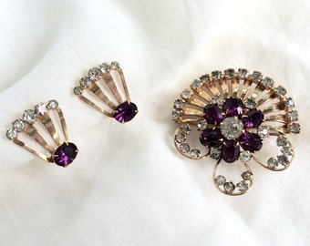 Vintage Scitarelli 1960s Rhinestone Gold tone Faux Purple Amethyst Spray Flower Brooch Pin Pendant and Clip on Screw Post Earring Set