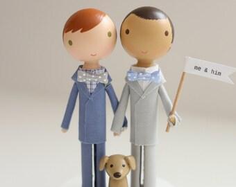 ME & HIM - custom same sex wedding cake topper -