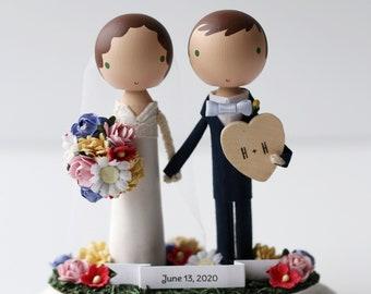 BANNER + HEART - custom wedding cake topper -
