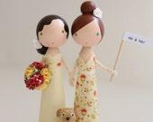 custom same sex wedding cake topper - me & her