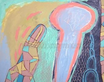 Reach- Art Print by Corey Moortgat, Geometric Painting, Doodles, Diamonds, 8 x 10, 11 x 14, 16 x 20