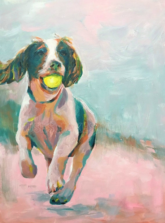 Colorful Spaniel Puppy Dog Running On Beach With Ball In Mouth Etsy