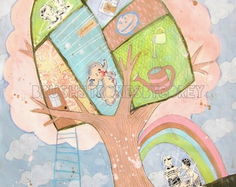Up in the Treehouse- Print by Corey Moortgat, Children, Vintage Book Illustration, Rainbow, Elephant, Doodles, Boy, Girl, Baby Room Decor