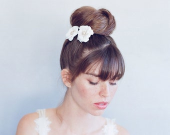 Bridal clay flower hair pins - Charming blooms hair pin pair - Style 758 - Made to Order