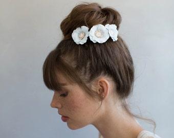 Épingles à cheveux fleur mariée argile - charmante fleur pavot pins Style 757 - faits sur commande