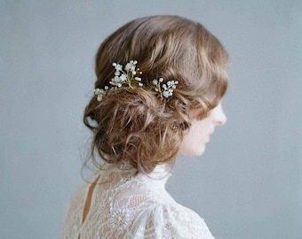 Bridal hair pins - Misty floral bobby pin set of 3 - Style 726 - Made to Order