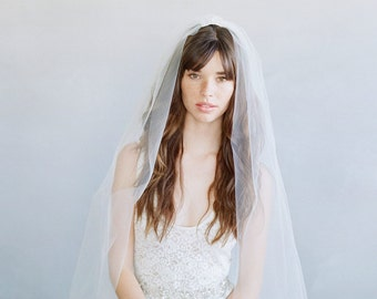 Cathedral length veil, wedding veil, tulle bridal veil - 2 piece simple gathered veil - Style 786 - Made to Order