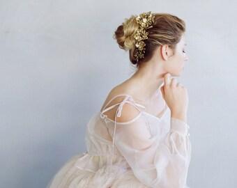 Bandeau de mariée - casque de décadence floral croissant - Style 751 - réalisé sur commande