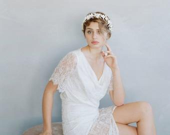 Serre-tête mariée argile - renoncule fleur et cristal bandeau - Style 753 - fait sur commande