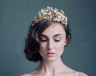 Bridal headpiece - Burnished soft regal crown- Style 723 - Made to Order